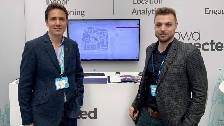 James Cobb from Crowd Connected and Florent from Mapwize announce the new partnership at ETL